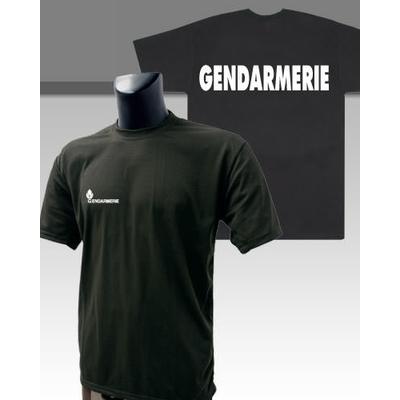 Tee-shirt noir imprimé Gendarmerie