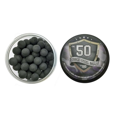 Lot de 100 balles caoutchouc acier Rubber-Steel Balls calibre 50