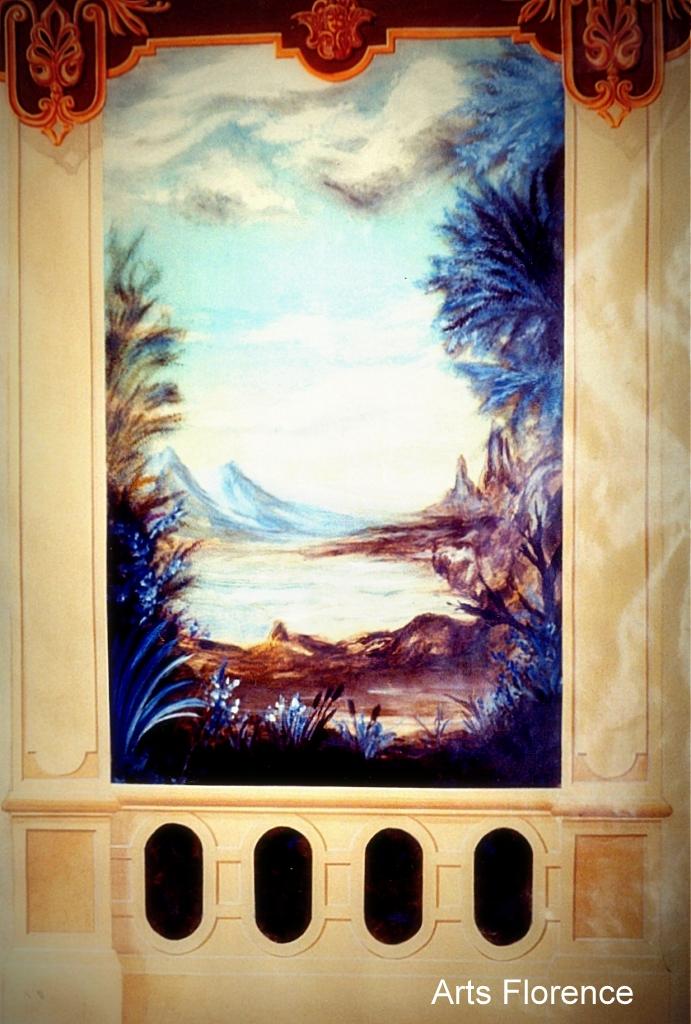 Trompe l 39 oeil entr e r alisations d co d coration arts florence - Deco trompe l oeil muurschildering ...