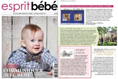 Esprit bébé le magazine parle de Artsflorence et de son livre grobert s'amuse