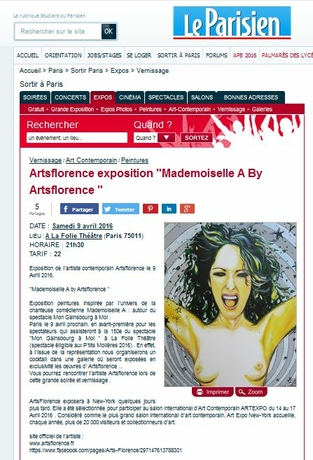 LeParisien parle expo d' Artsflorence - mademoiselle A by Artsflorence