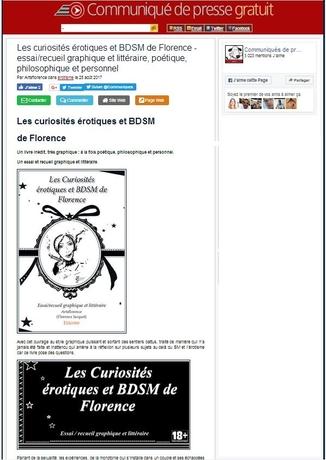 artsflorence - communique de presse gratuit parle du livre les cursiosités érotiques et bdsm de florence