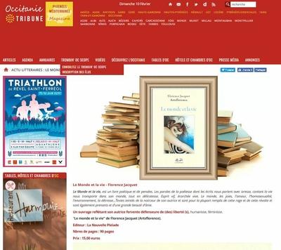occitanie tribune parle du livre le monde et la ie de florence jacquet