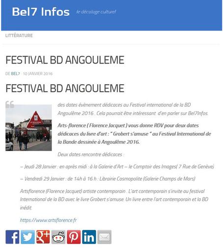 artsflorence dans le magazine culturel bel7infos pour le festival international BD d' angoulême 2016