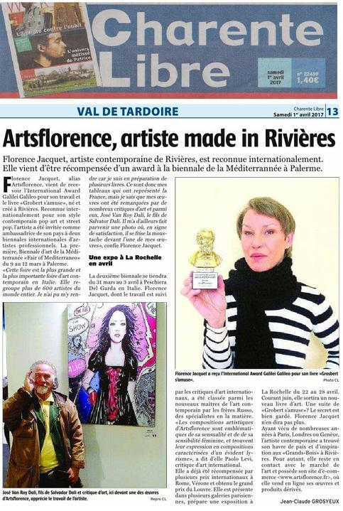 artsflorence -  charente libre fait un dossier sur artsflorence  avril 2017