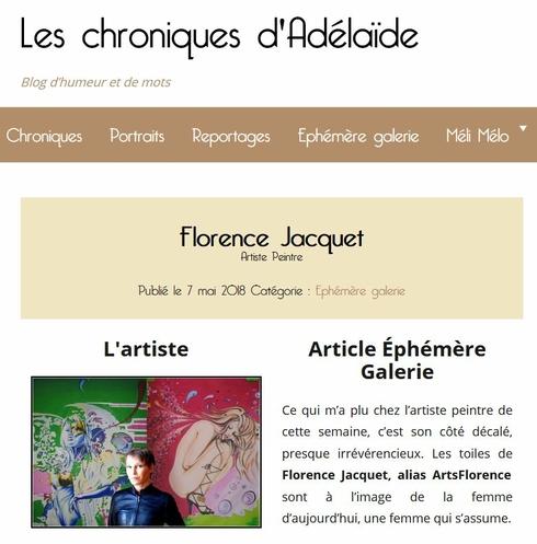 les chroniques d'adélaïde parle de Artsflorence