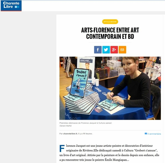 Artsflorence - charente libre parle de la dédicace du livre d'art