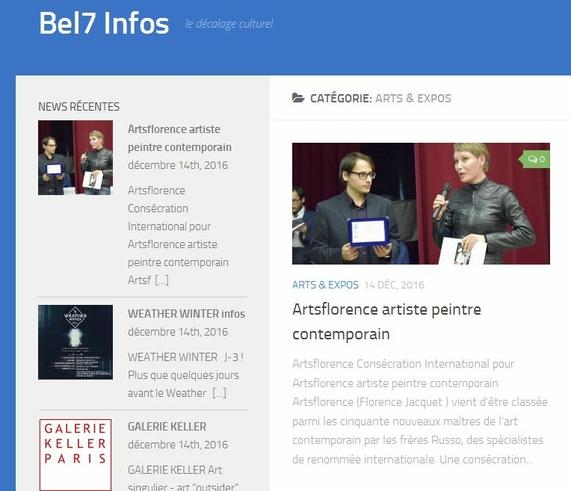 Bel7infos parle de artsflorence artiste peintre international consécration international