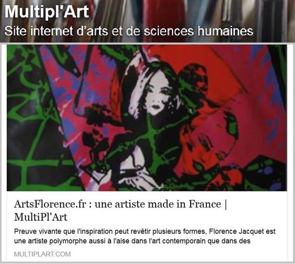 Multipl'Art parle de Artsflorence et florence jacquet - culture et art