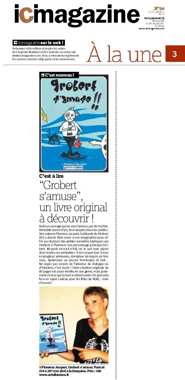 ICI Magazine parle de Artsflorence et de son livre Gorbert s'amuse a la une de décembre 2015
