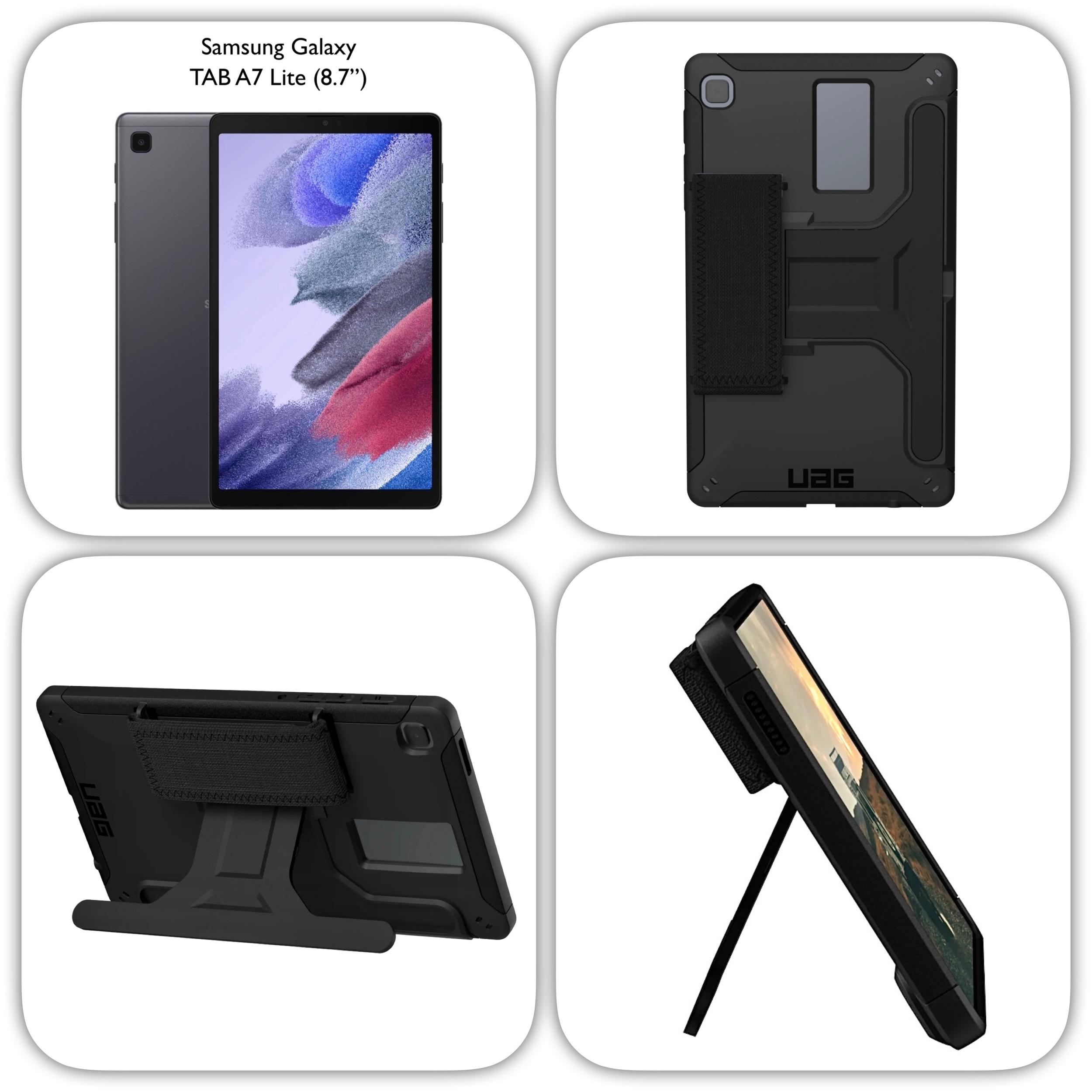 REF 2555 Pack 2 en 1 Galaxy TAB A7 LITE 8.7p Coque Armure Sangle main et verre de protection ecran