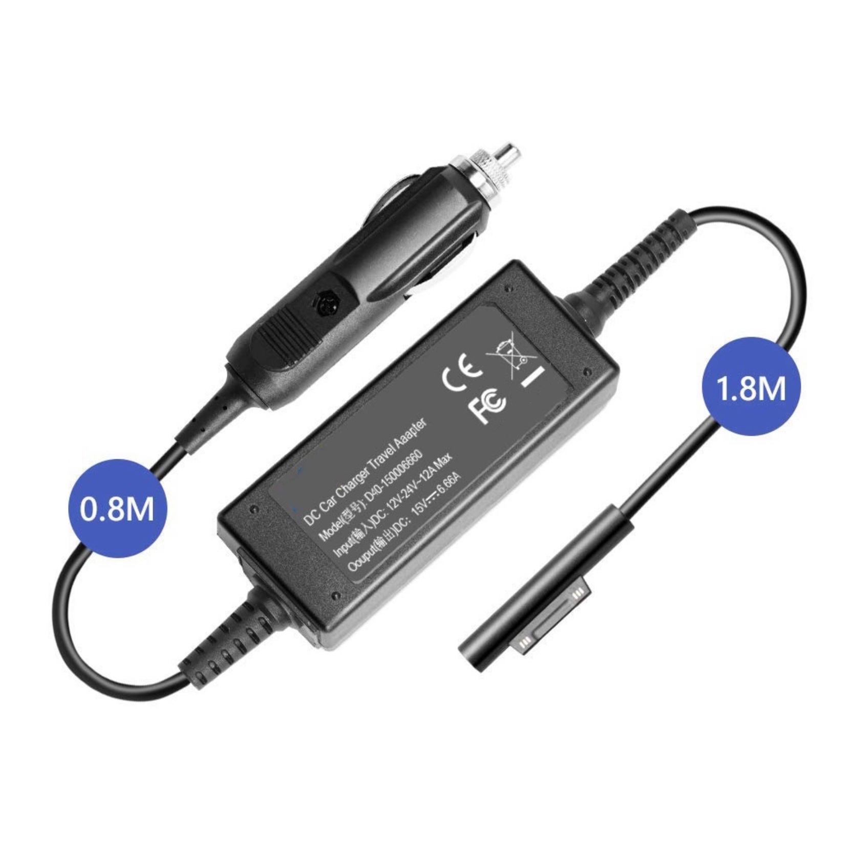 Ref 2595 Chargeur Allume cigares 12V ou 24V 95W vers Microsoft SURFACE Connect Pro