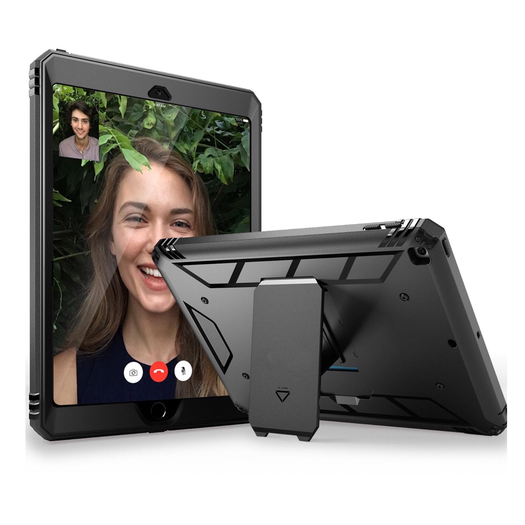 iPad 2017 Coque renforcee pied amovible et Film de protection ecran Footer