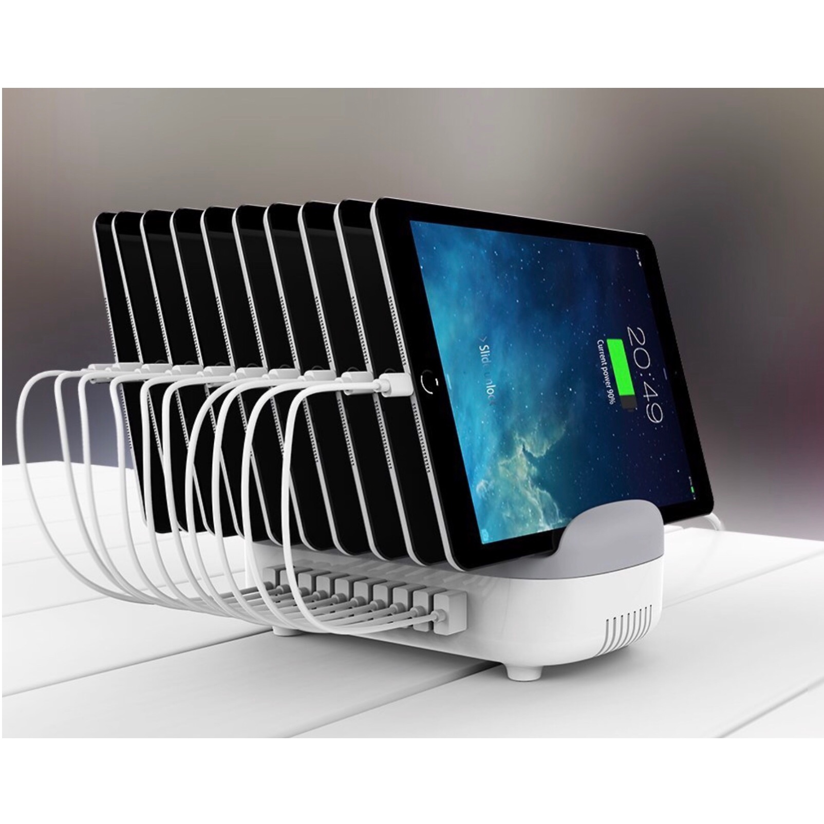 Station de charge Universelle 10 x USB et 10 Cables Micro-USB 30cm