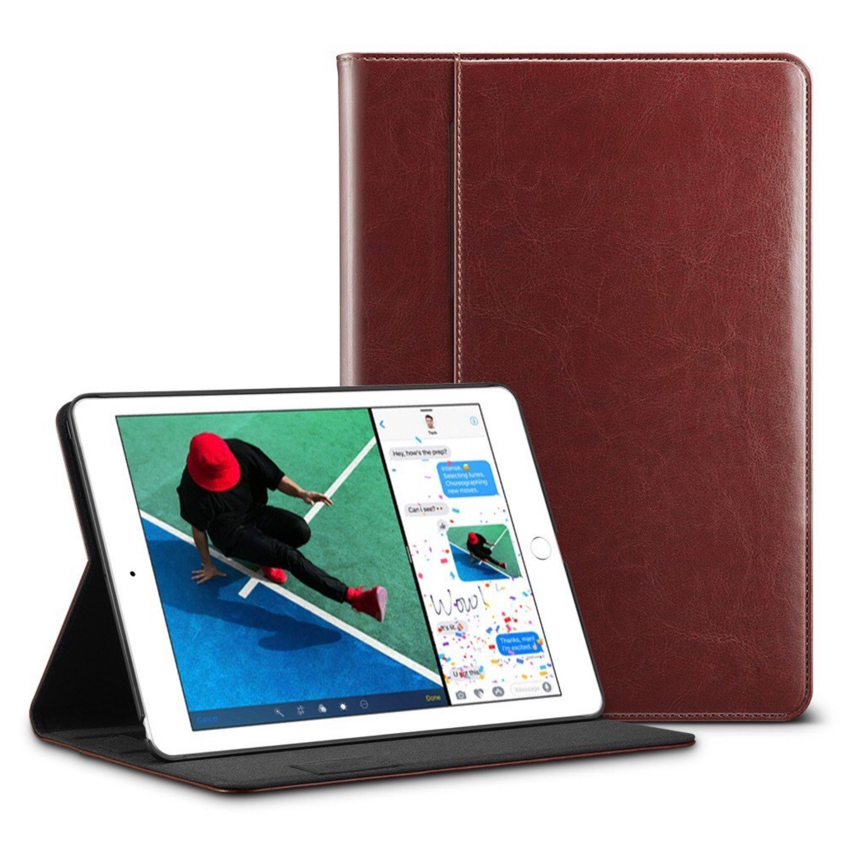 Etui Folio Protection New iPad 9.7 pouces Aspect cuir Malte Brun
