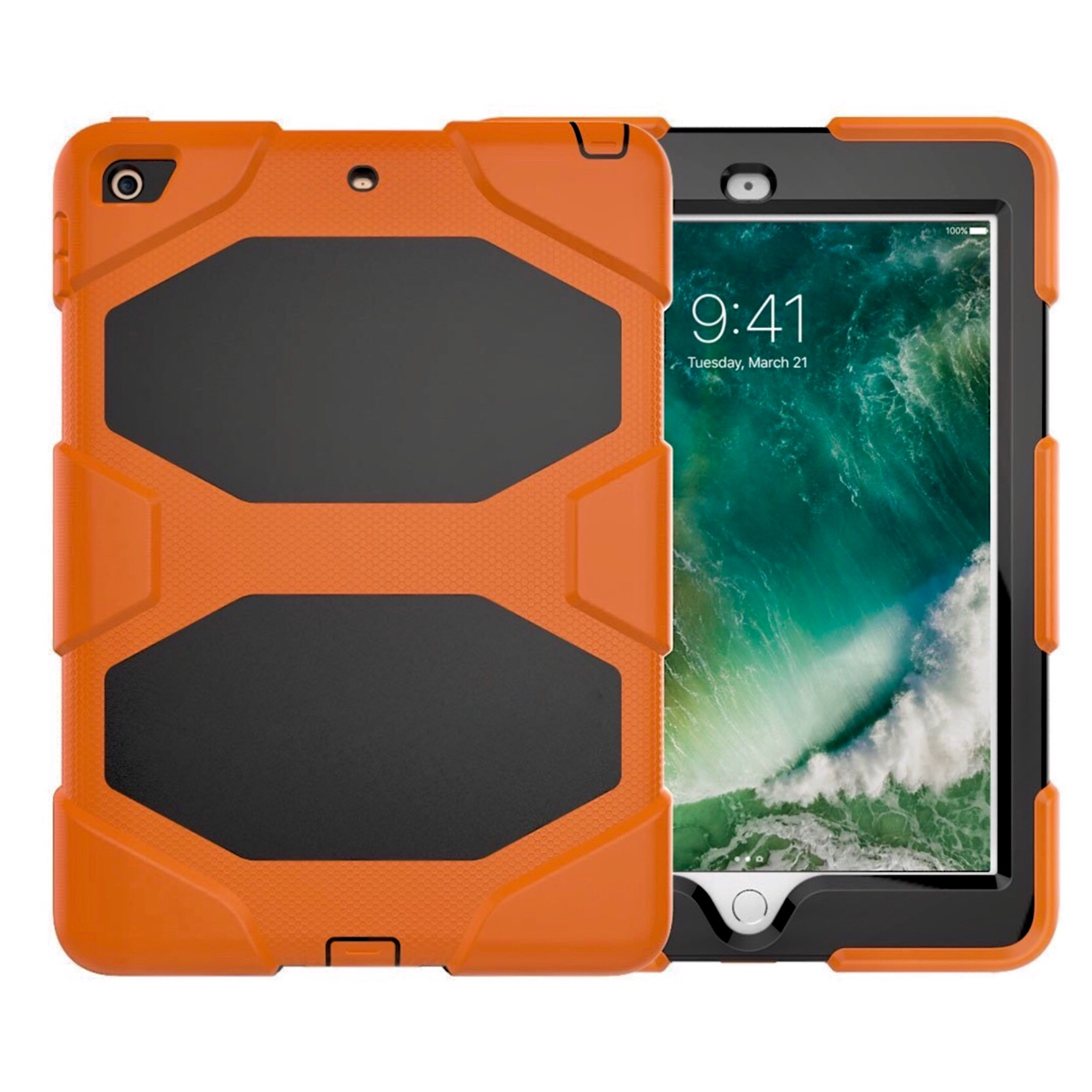 New iPAD 9.7 pouces Coque de protection Vegas Film rigide ecran Orange