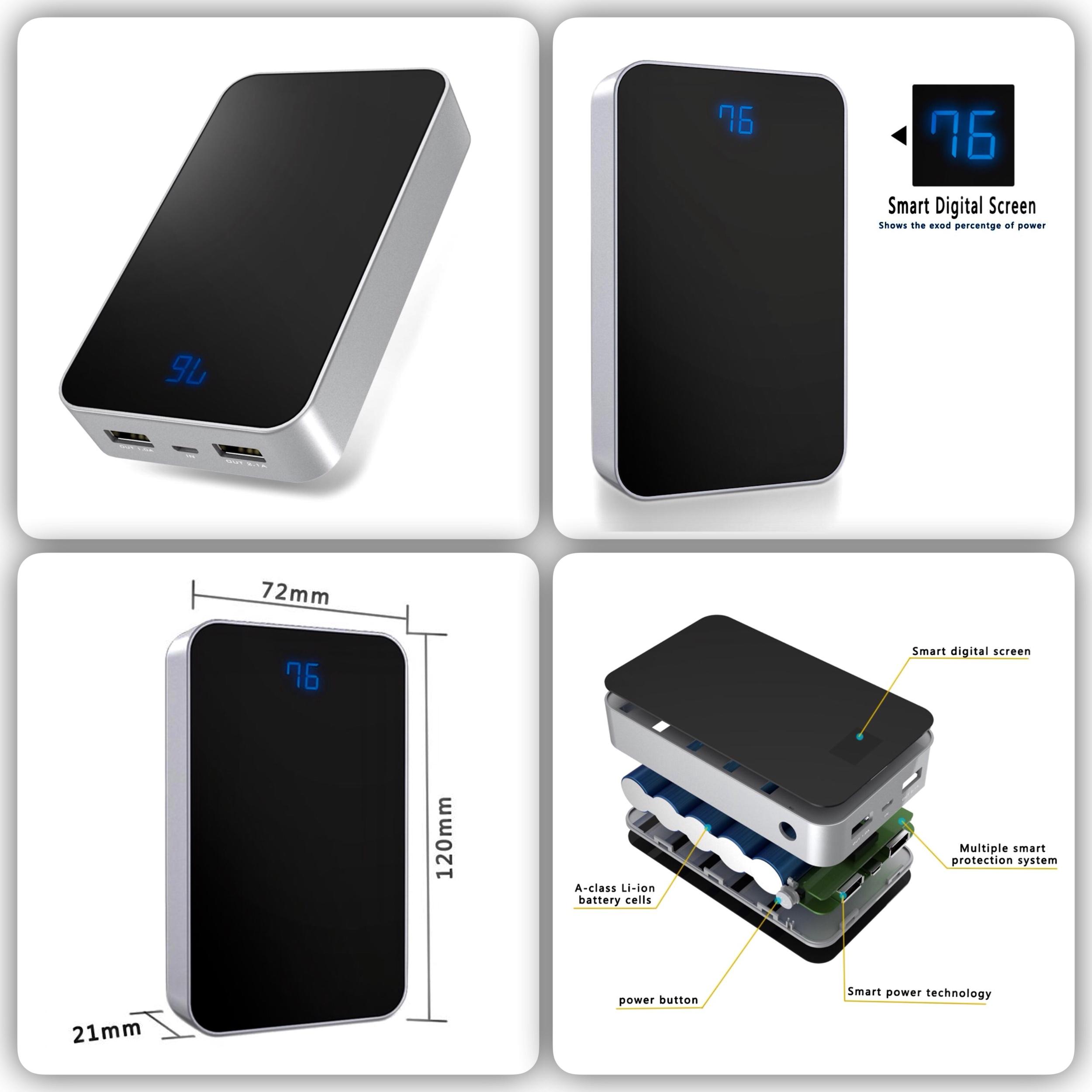 Batterie universelle Affichage digital 2 sorties USB 5V 13500 mAh Premium B