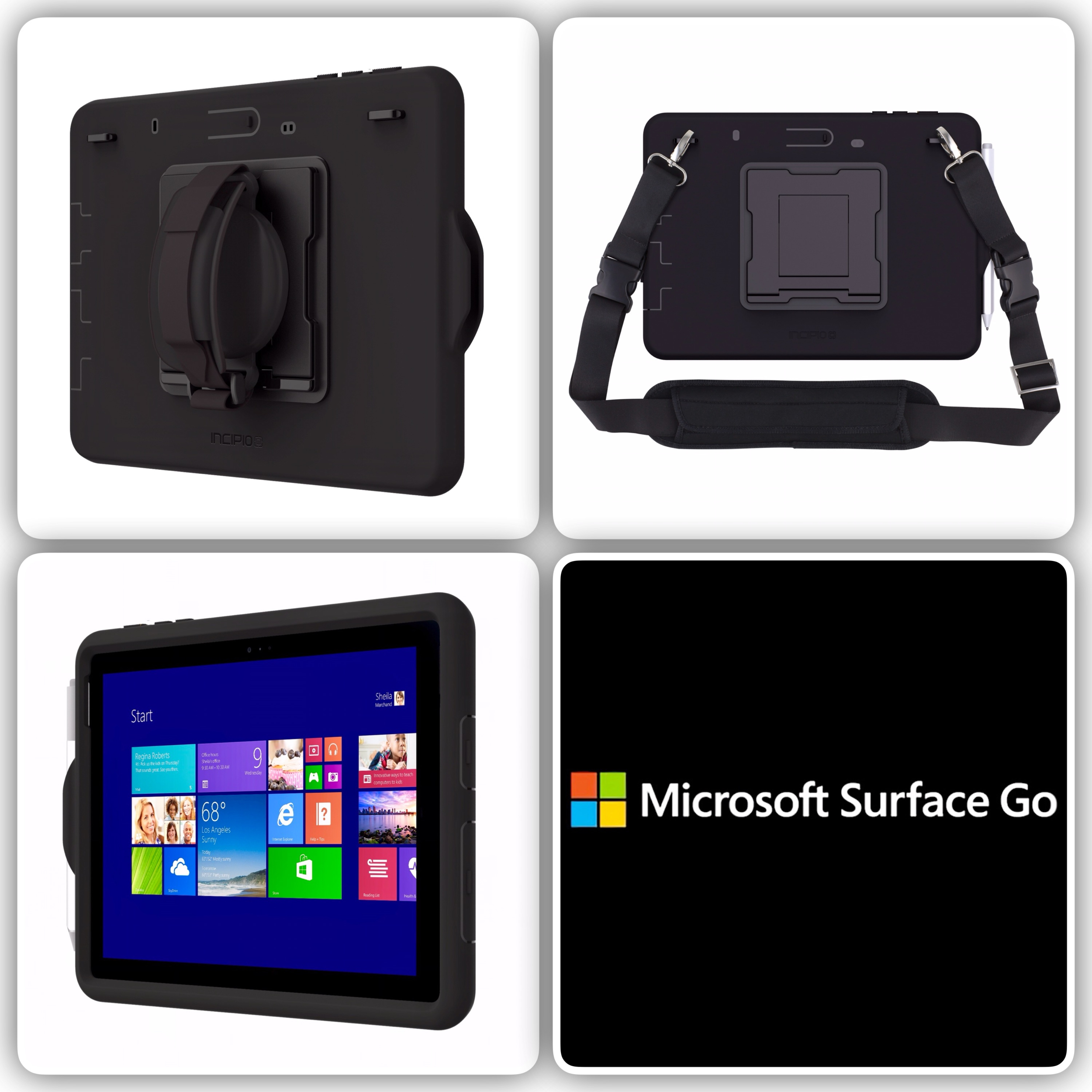Pack 4 en 1 Surface GO 10p Coque renforcee Sangle main Harnais epaule et verre de protection ecran Rugged 360