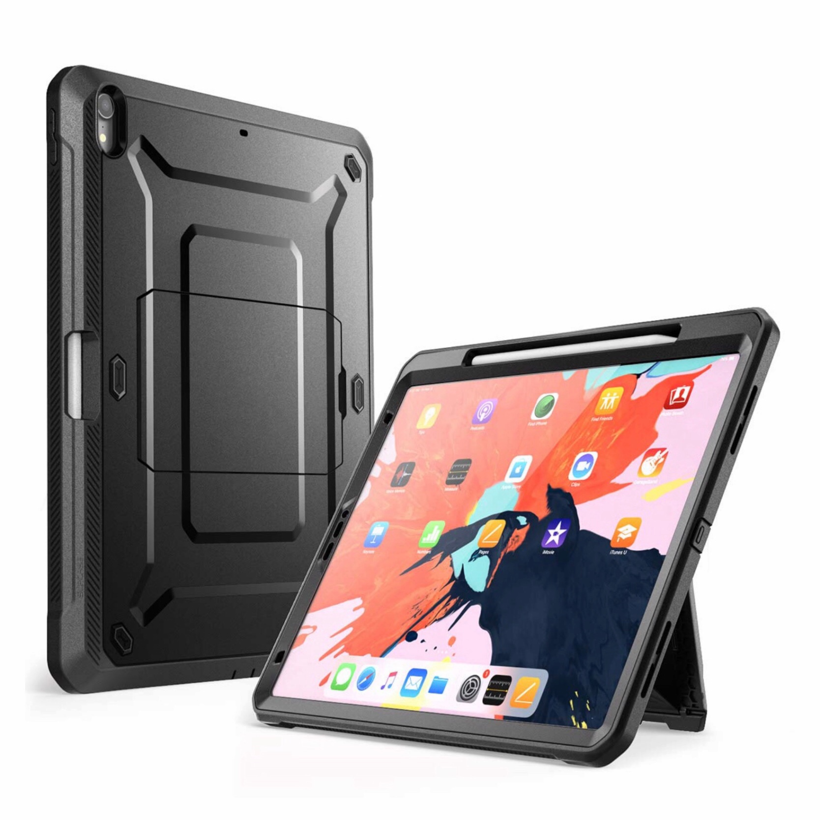Coque 3 en 1 Protection Film rigide ecran et support stylet iPAD iPAD PRO 2018 11 pouces Footer Anthracite