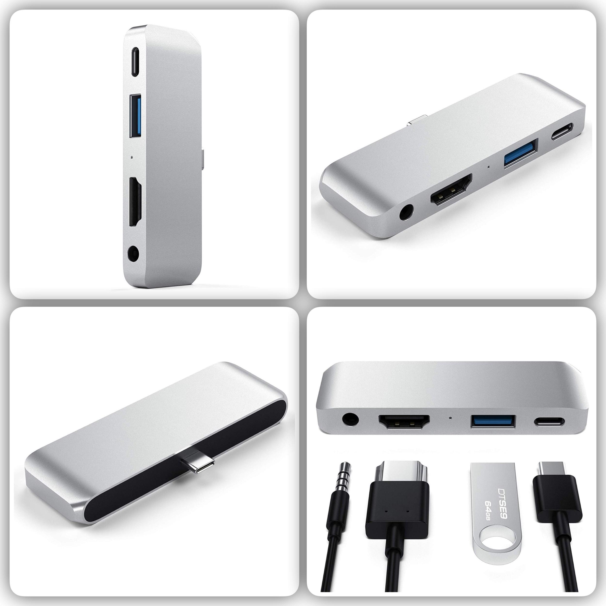 Adaptateur 4 en 1 Galaxy TAB S4 et S3 Galaxy BOOK et Galaxy TAB A 10.5 pouces Smart Pro Hub Aluminium