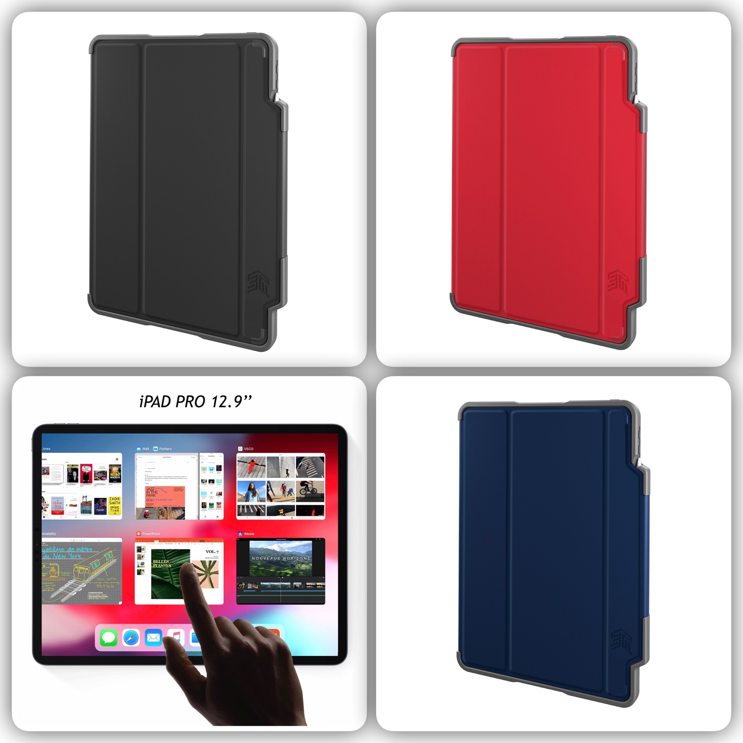 Bundle 2 en 1 Etui et verre protection ecran iPad PRO 2018 12.9 pouces 3e Gen Dux Plus et Charge magnetique Stylet