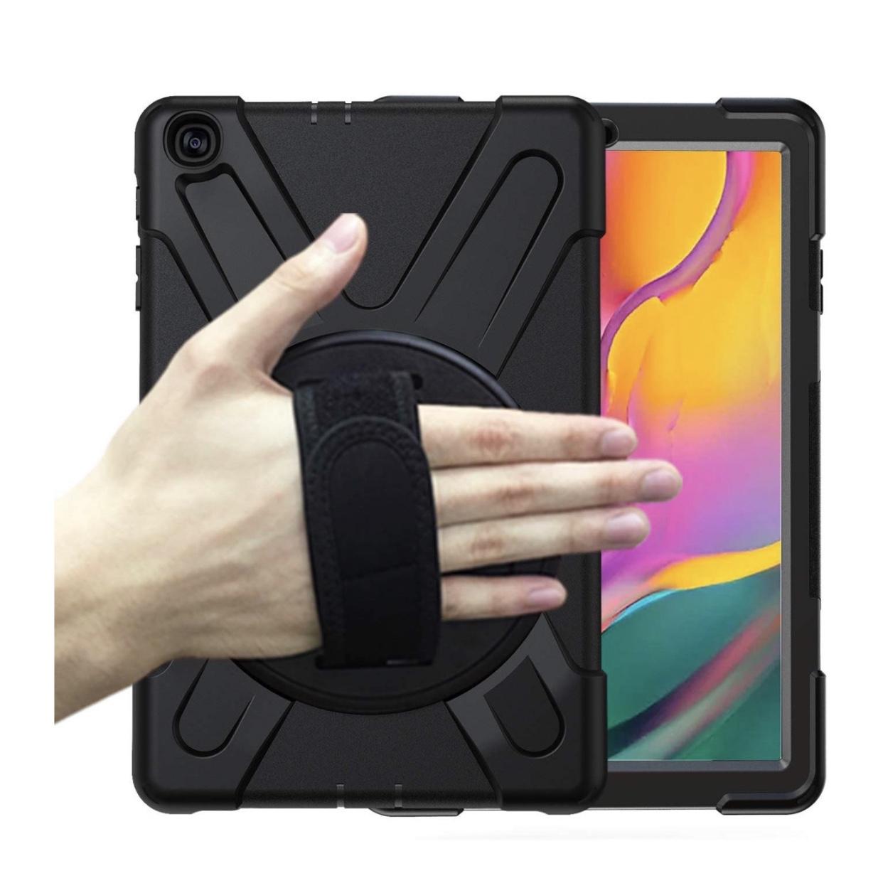 Samsung Galaxy TAB A 2019 10.1 pouces T510 et T515 Coque renforcee Sangle main et harnais tour de cou Vancouver