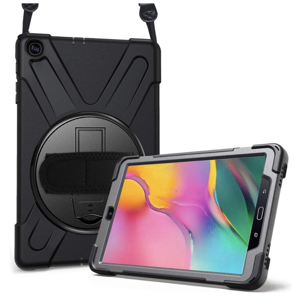 Package 2 en 1 Galaxy TAB A 2019 10.1 pouces T510 Coque avec Sangle main Vancouver et verre renforce de protection ecran