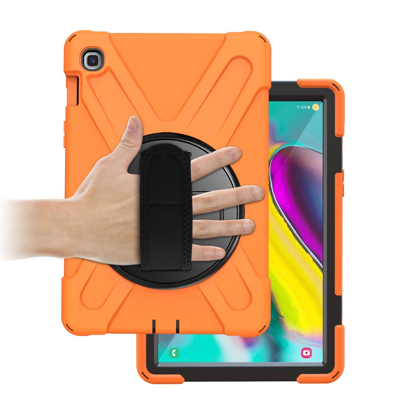 Coque de protection Vancouver Orange Galaxy TAB S5e avec sangle main et verre de protection ecran
