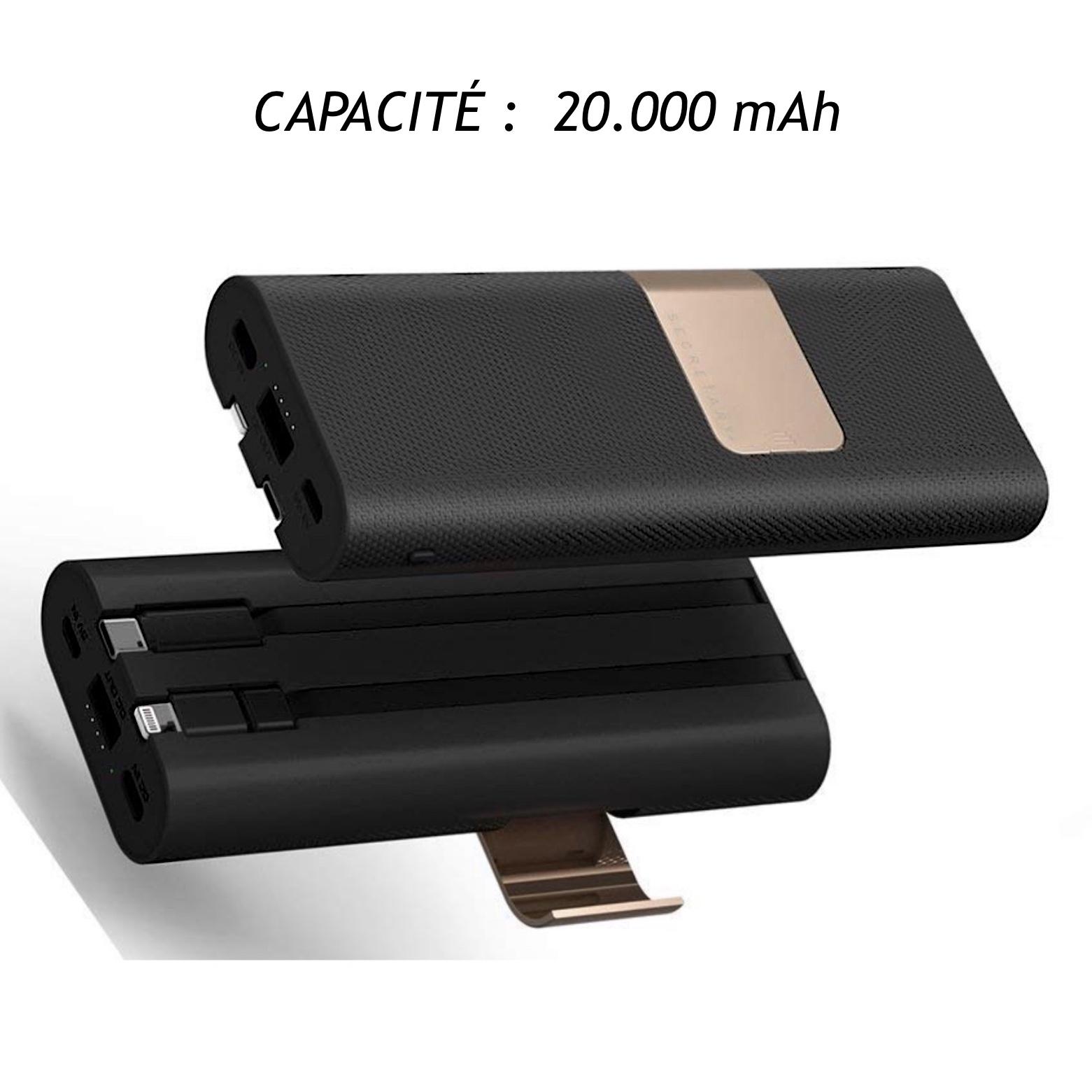 Batterie Universelle Gamme Professionnels 20000 mAh USB-C vers tablettes Samsung USB-C et Lightning