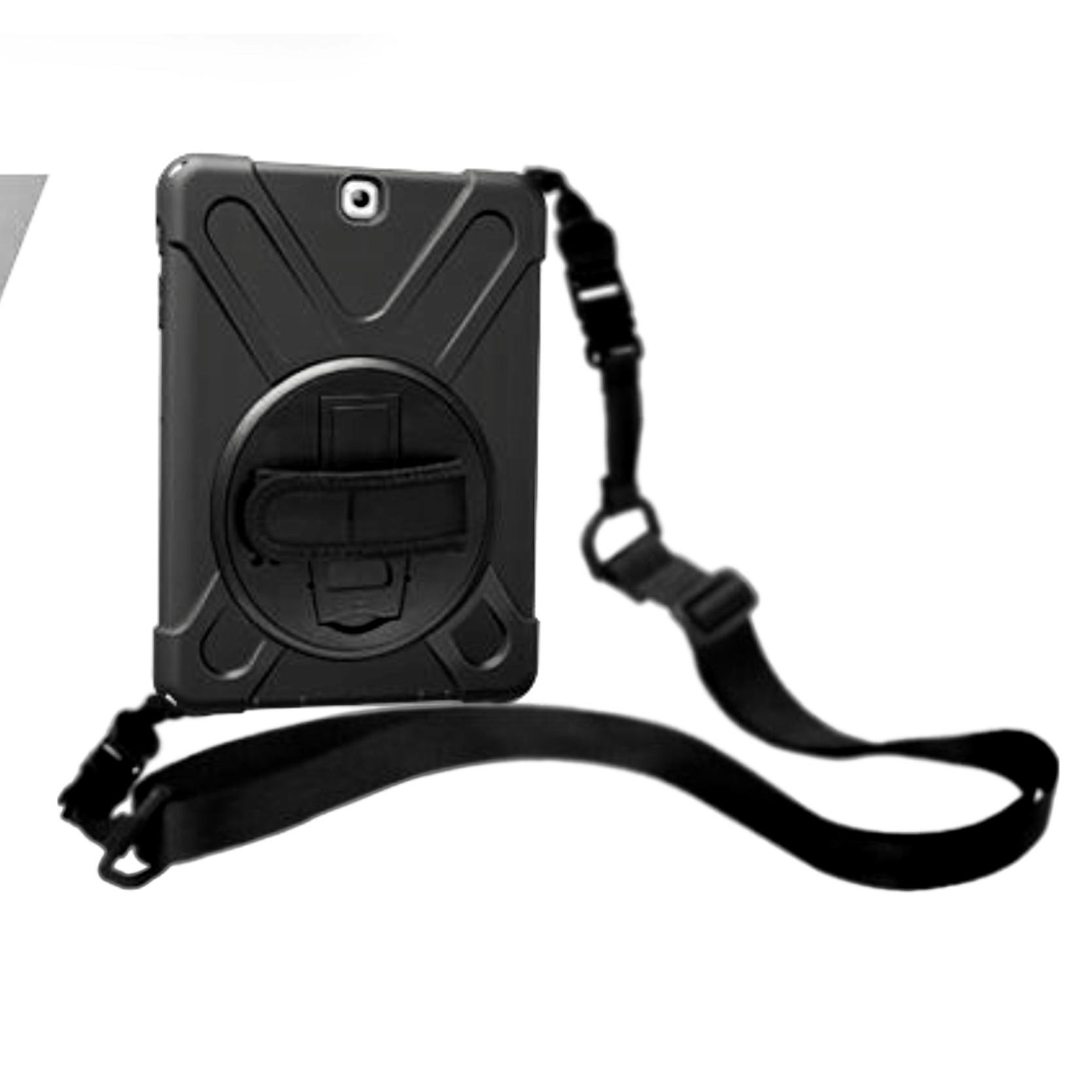 Coque de Protection Harnais tour de cou et Sangle main rotative Galaxy TAB S2 9.7p Vancouver Noir