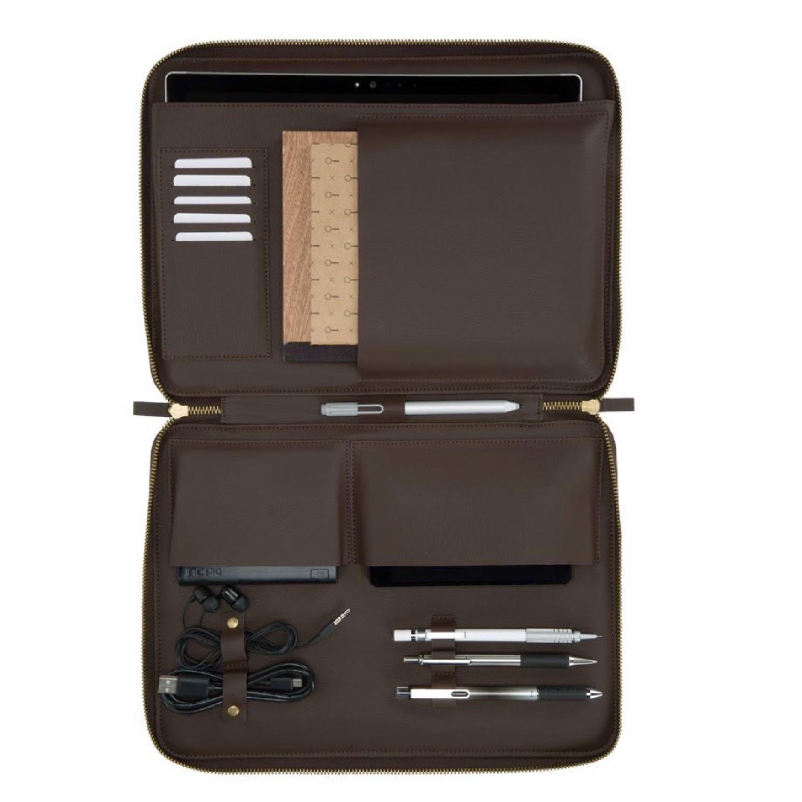 Housse Zip Multi poches SURFACE PRO 7 et PRO 6 Esquire Gris et Bordeaux