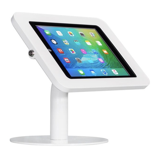 iPAD 10.2p 7e Gen Borne de table securisee Support de presentation Blanc