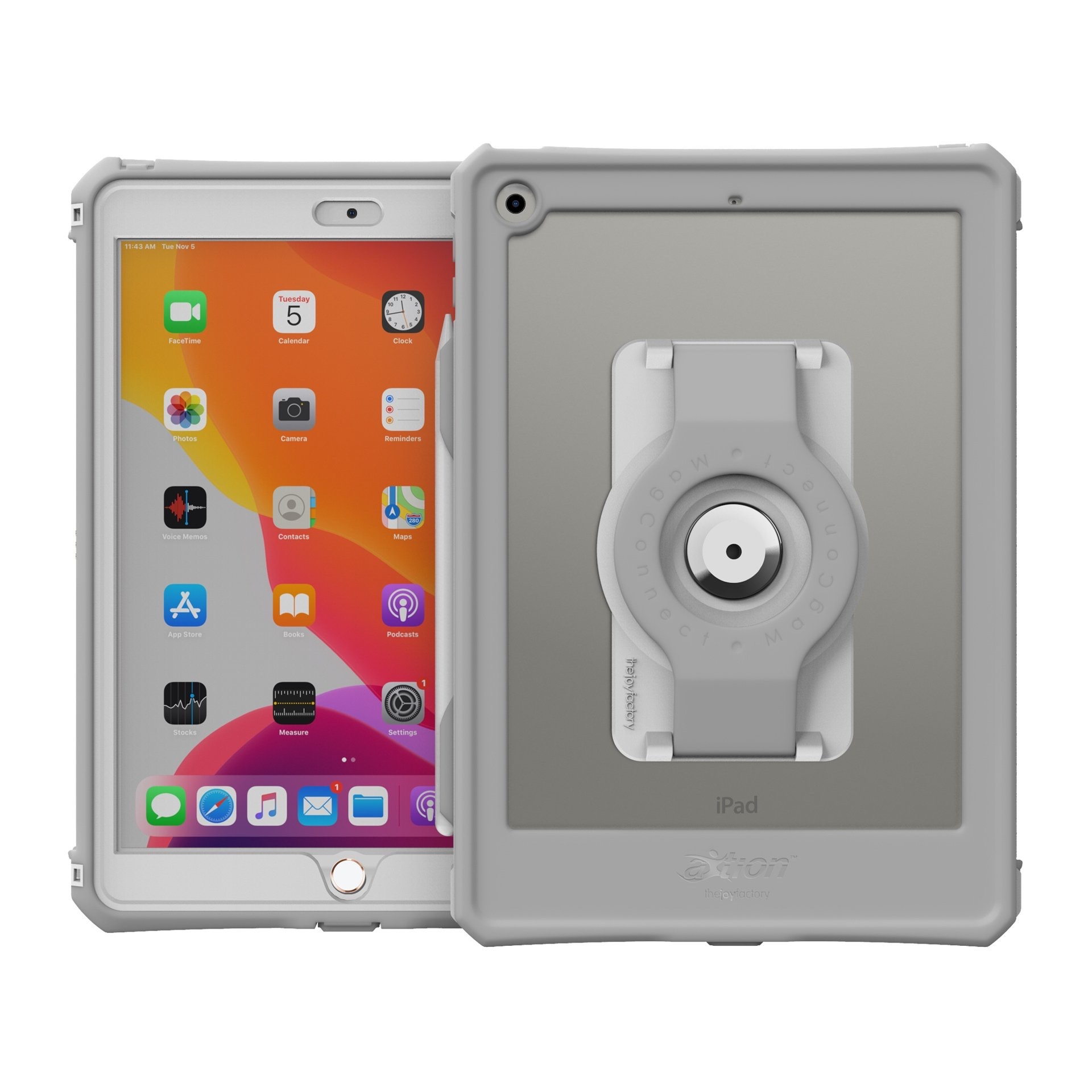 iPAD 10.2 pouces Coque Protection etanche iP68 avec sangle main rotative souple Slim Connect Gris