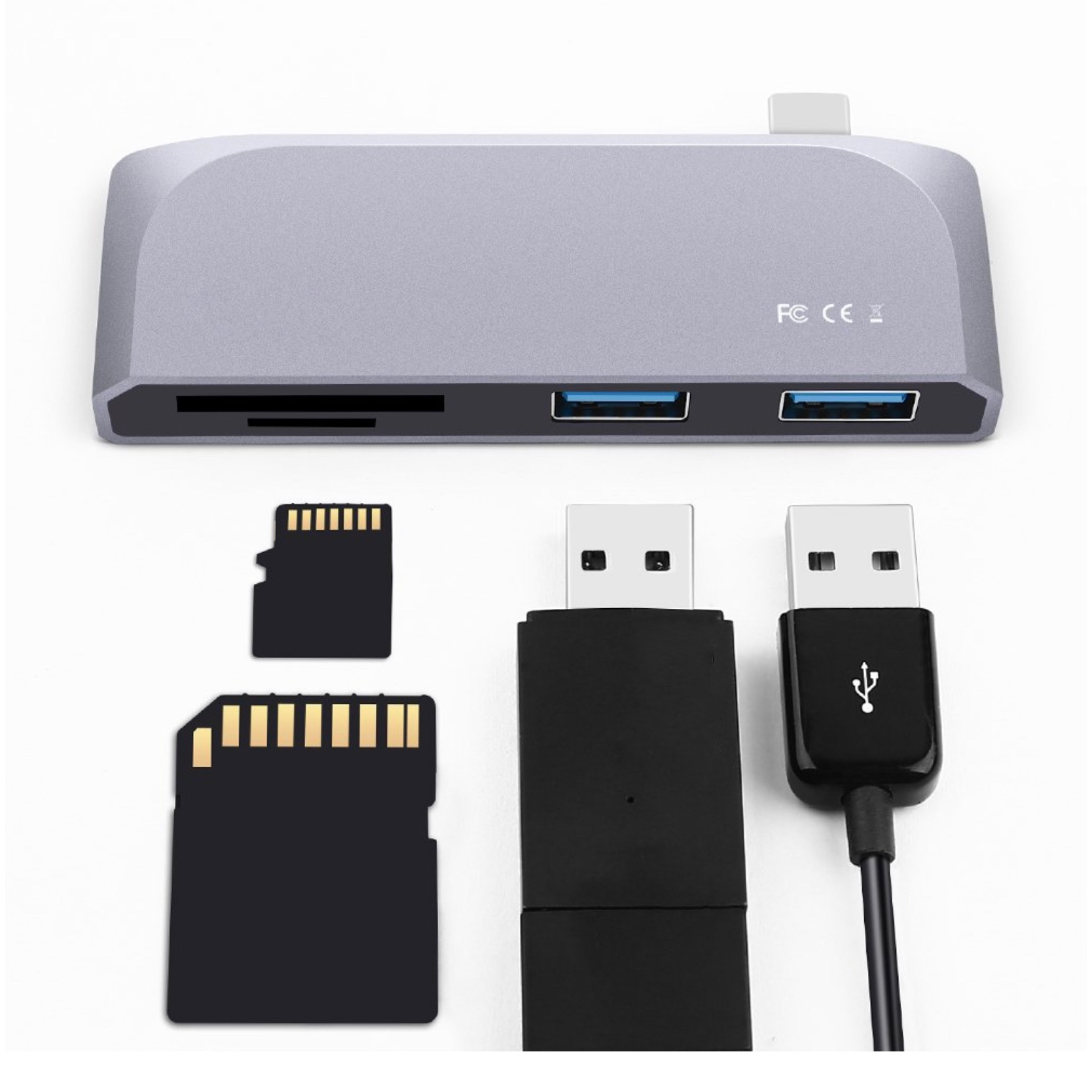 Adaptateur 4 en 1 USB C vers Carte SD et Micro SD et 2 x USB 3.0