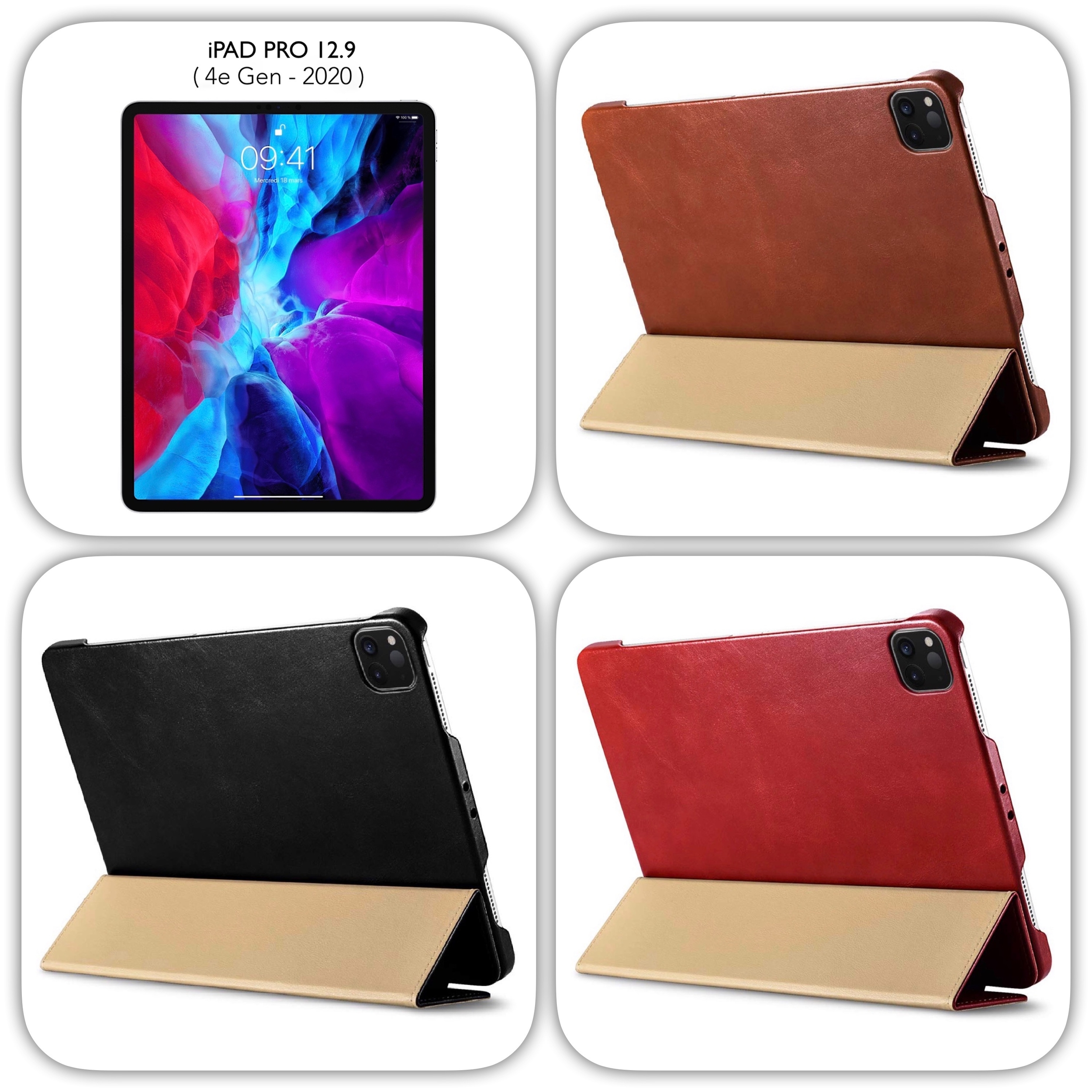 Pack Duo iPAD PRO 2020 12.9 Etui Folio Cuir veritable Firenze et verre protection ecran