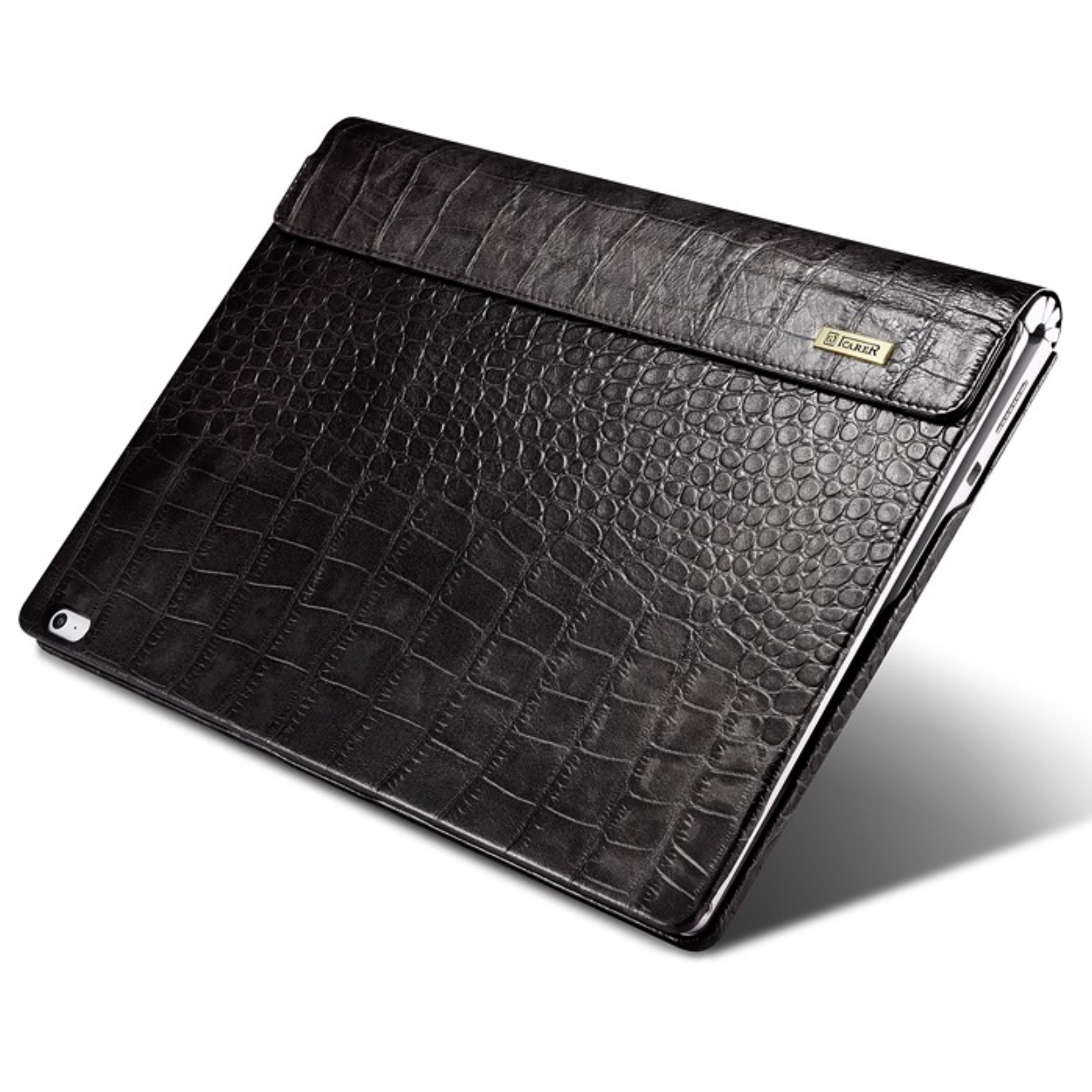 Surface BOOK 3 et BOOK 2 13.5 pouces Folio de Protection Etui cuir veritable Aspect Croco NOIR