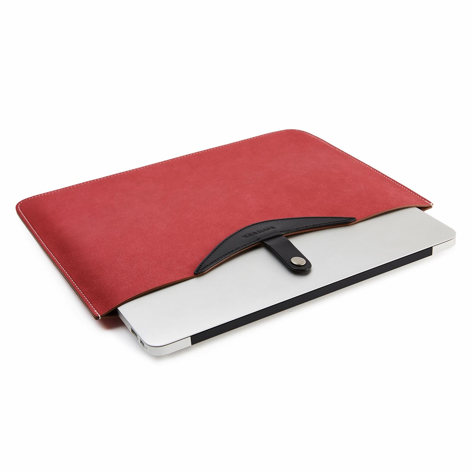 Housse de Protection Cuir veritable MacBook PRO et AIR 13.3 pouces Eleganzia ROUGE