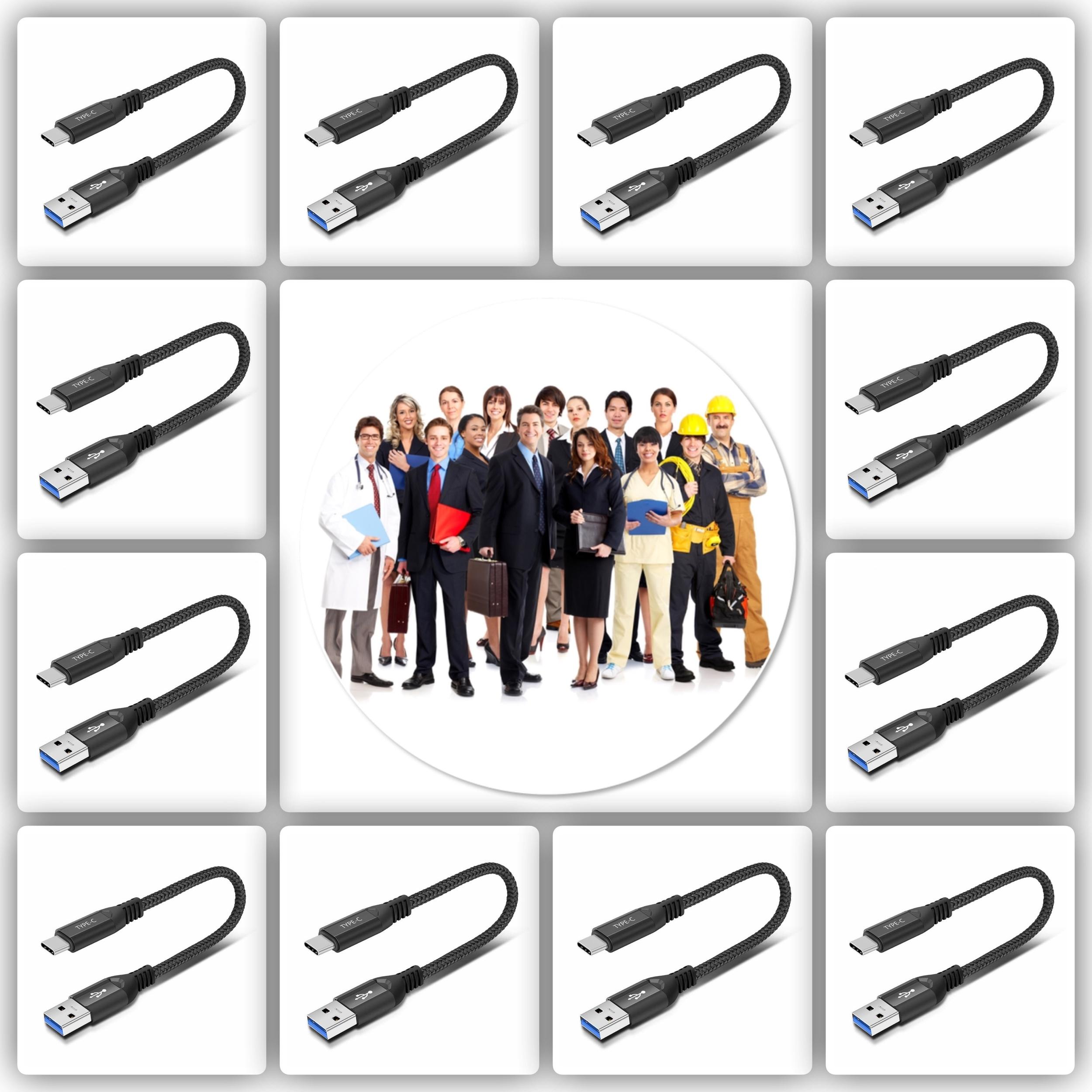 Pack de 10 x Cable USB-A vers USB-C Longueur 26cm