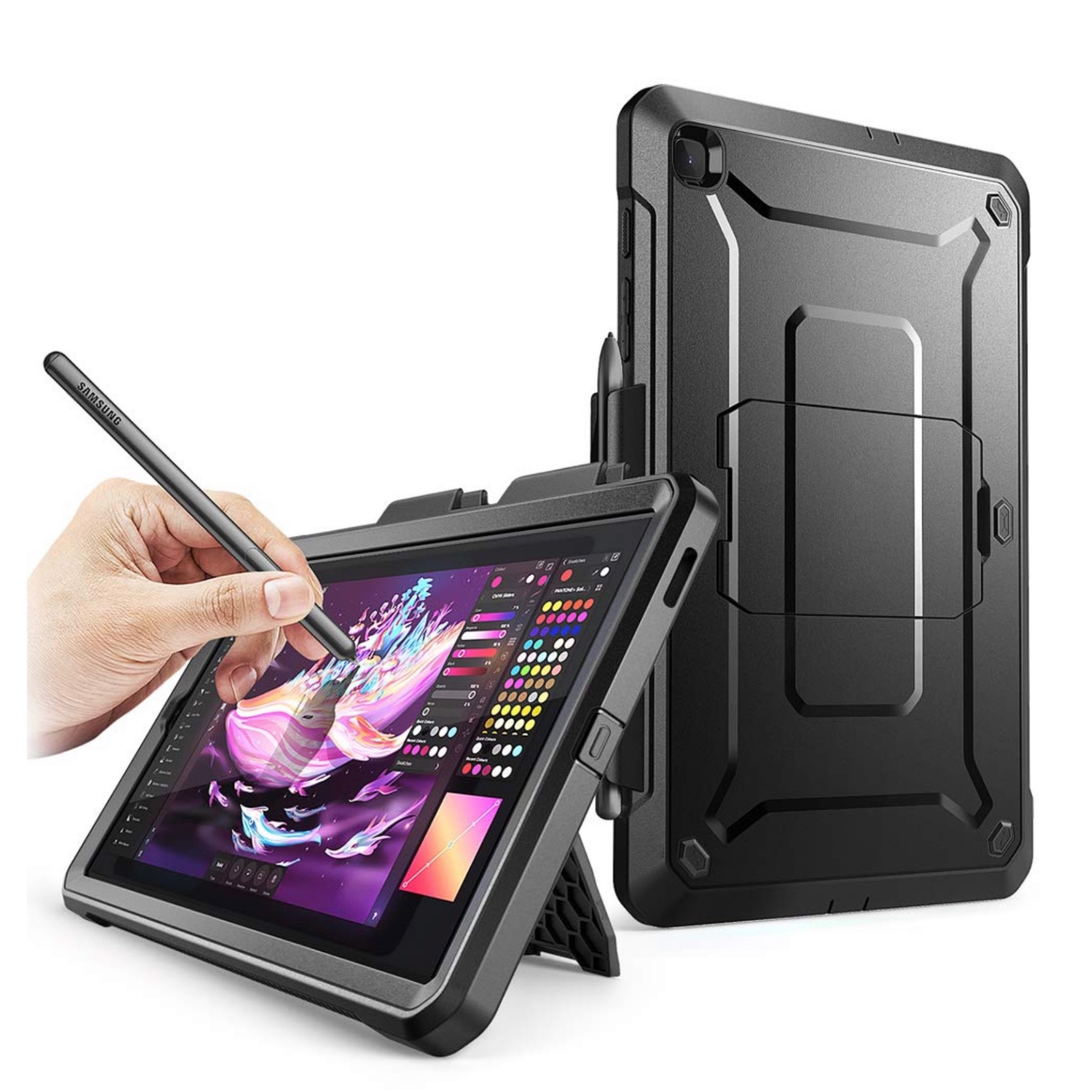 Galaxy TAB S6 LITE 10.4 pouces Footer 2 Film rigide ecran Pied et support stylet