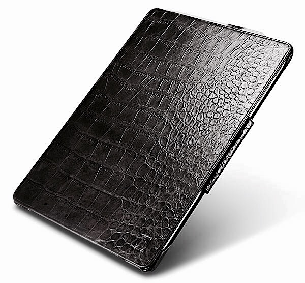 Microsoft Surface PRO 7 Etui Folio Cuir veritable Firenze Aspect Croco NOIR