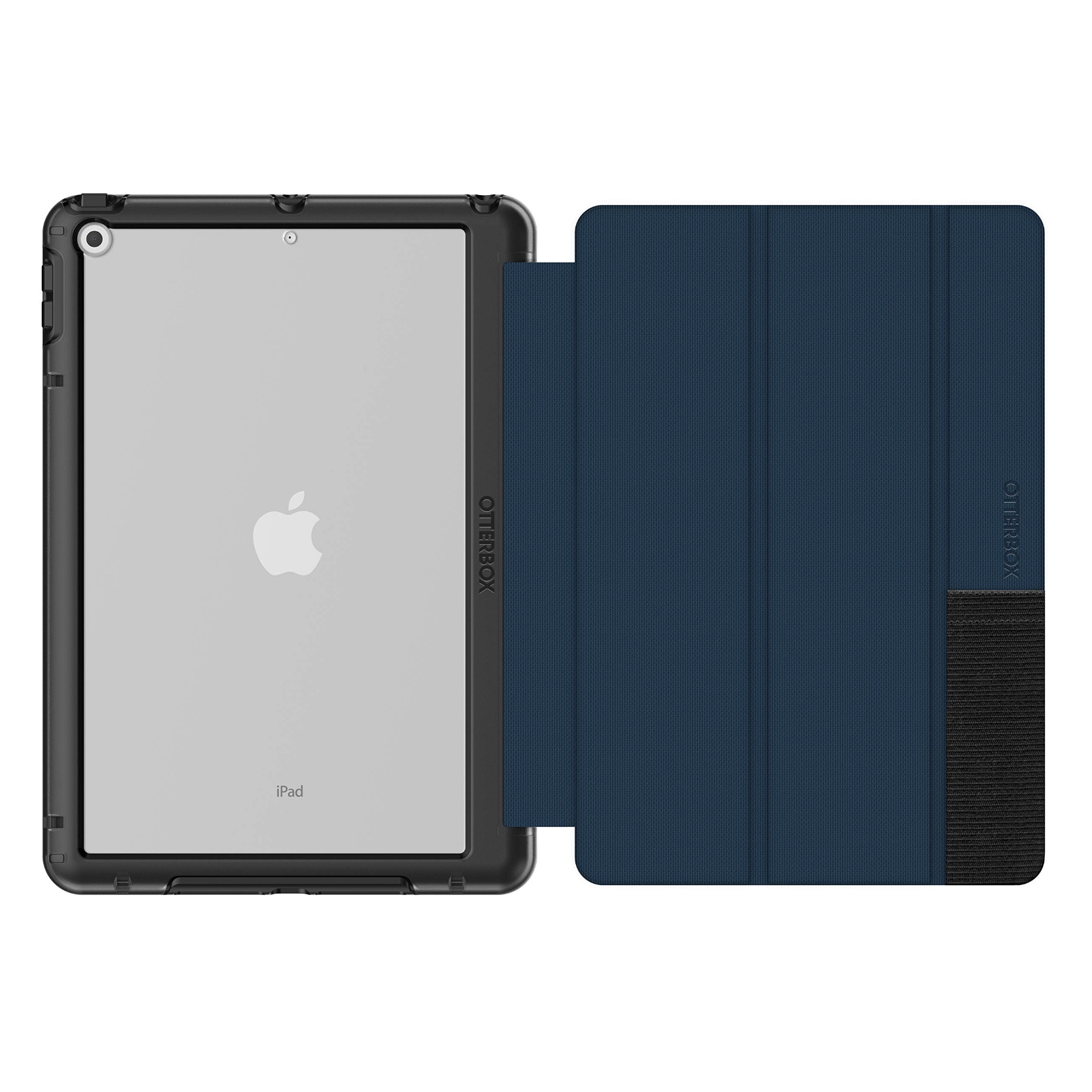 iPAD 10.2 7e Gen Etui Folio renforcé Symmetry Dos transparent et cover ecran BLEU