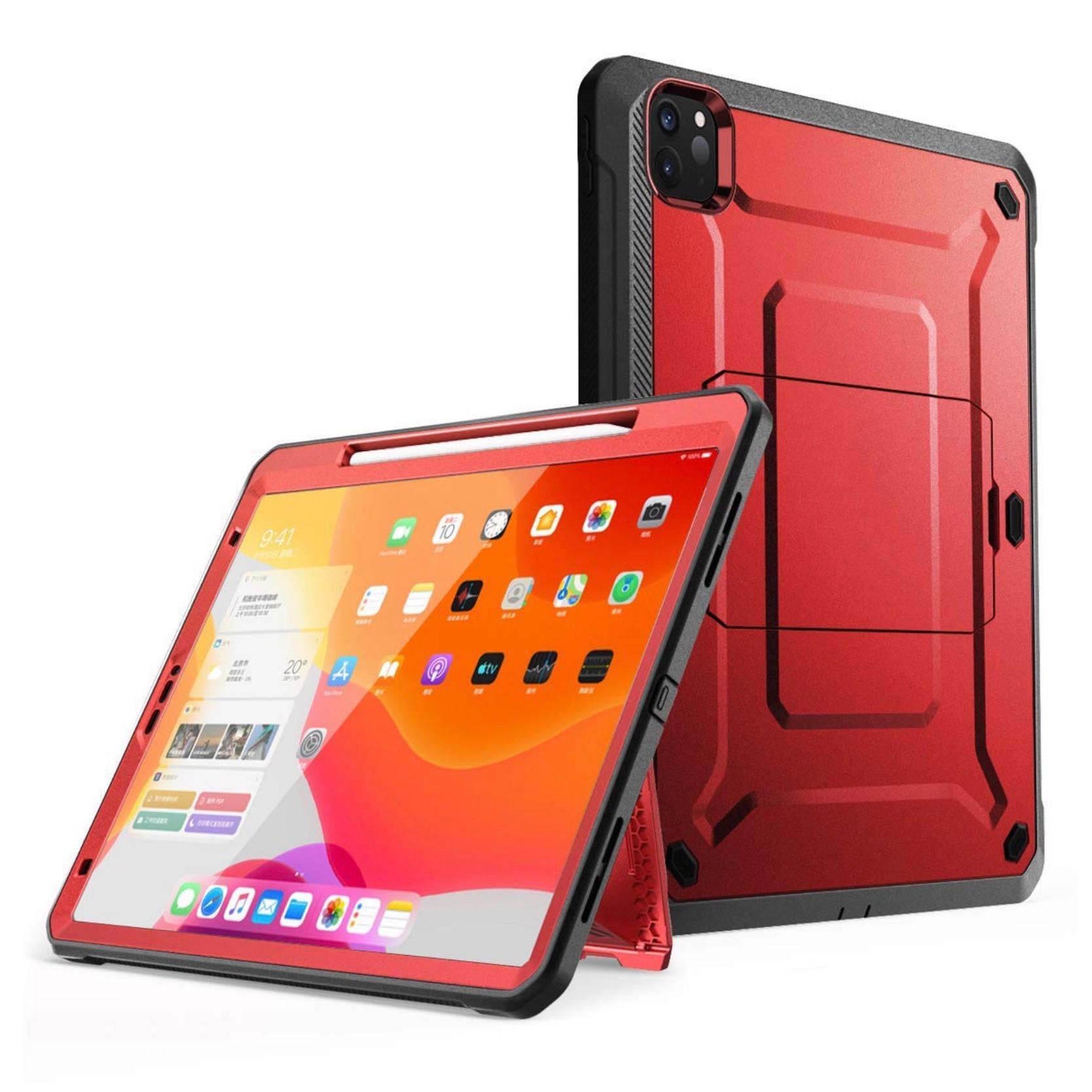 Protection avec Film ecran et support stylet iPAD PRO 2020 12.9 pouces FOOTER Rouge
