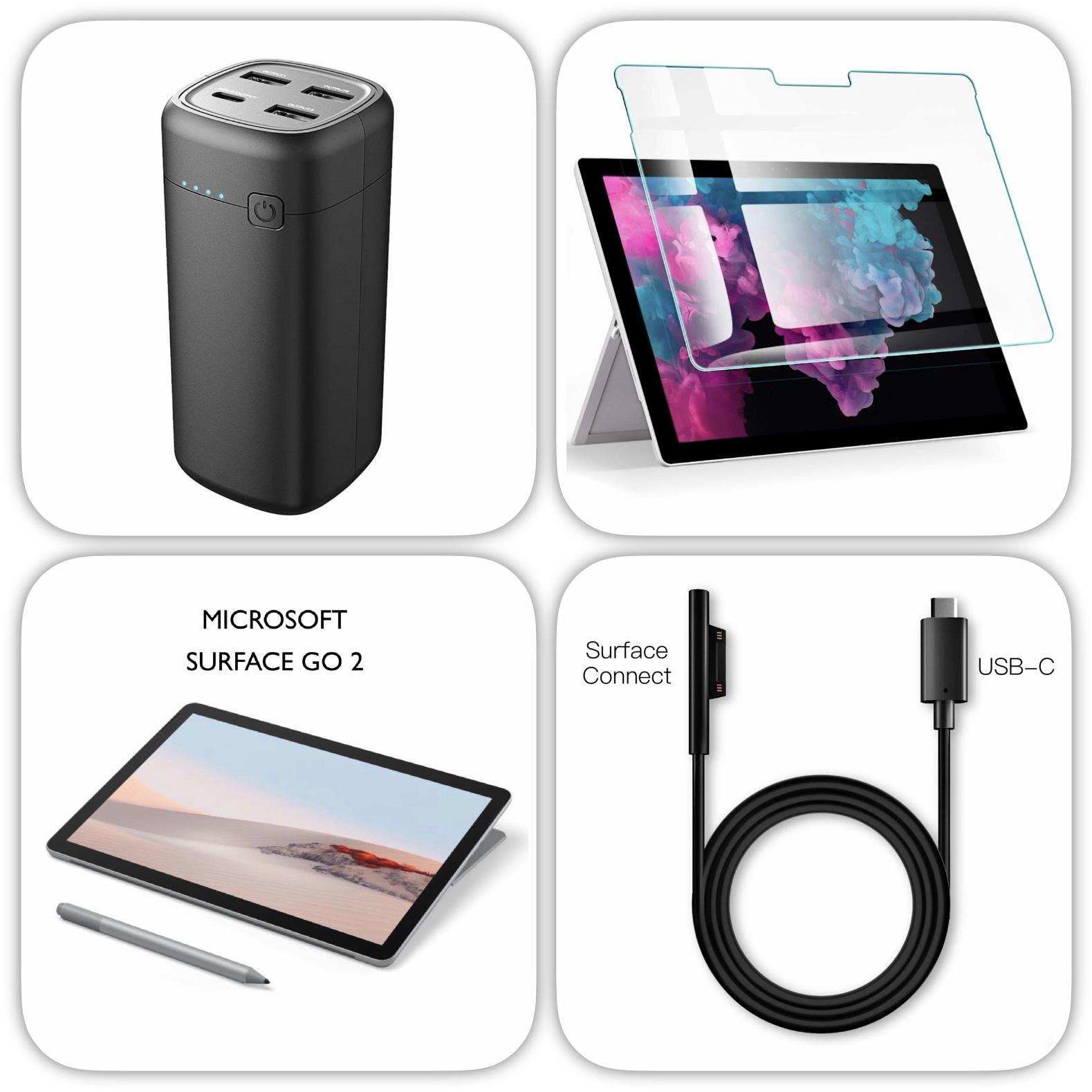 Pack 2 en 1 Batterie 22000 mAh 4 sorties et cable USB-C vers Surface Connect