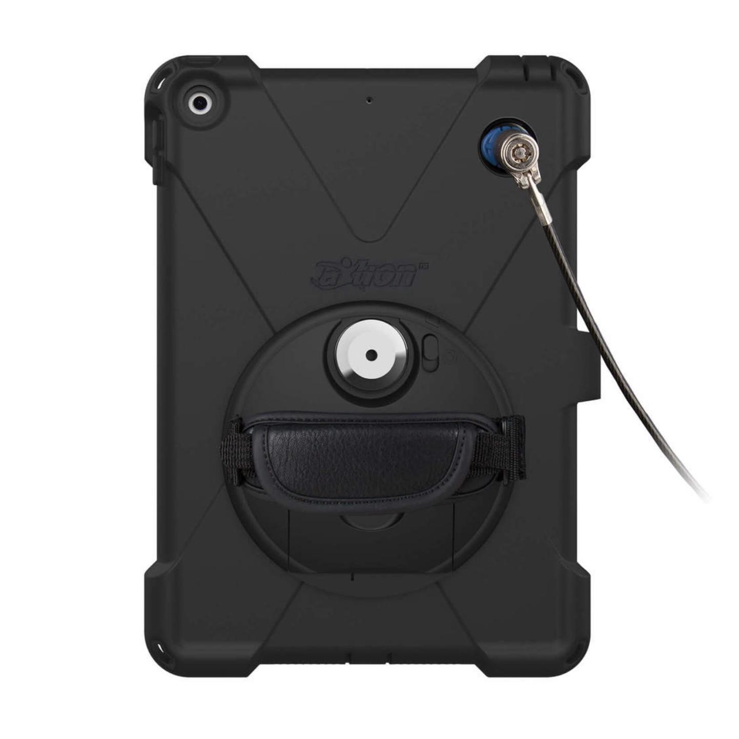 Pack Securite 4 en 1 Coque renforcee iPAD 10.2 pouces 7e Gen Sangle main et protection antivol