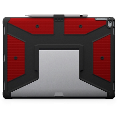 Coque renforcee iPad PRO 12.9 Support stylet Pied Aluminium Armure Rouge