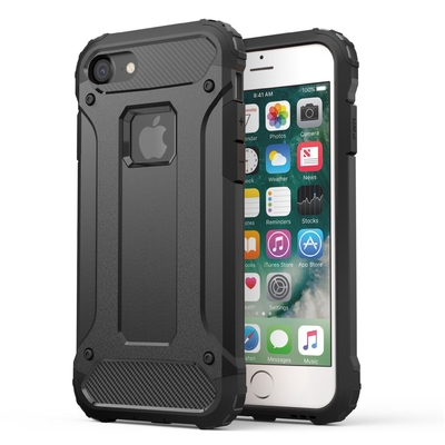 Coque de protection iPHONE 7 Rugged Noir et Verre de protection ecran