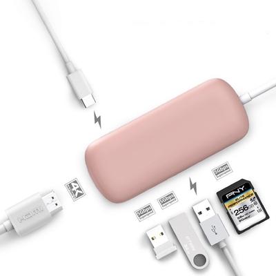 Adaptateur USB-C vers 3 x USB 3.0 et HDMI Lecteur carte SD Rose
