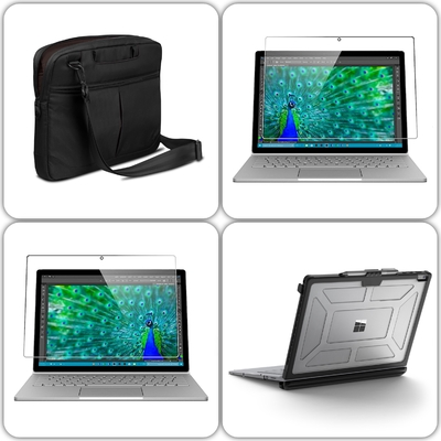 Pack 3 en 1 : Coque de protection Armure + Sacoche Swift + Verre de protection ecran SURFACE BOOK 13.5