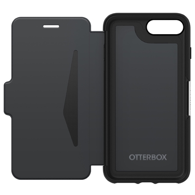 Etui Folio Cuir veritable et Coque Silicone iPHONE 8+ et iPHONE 7+ 5.5 pouces Strada Noir