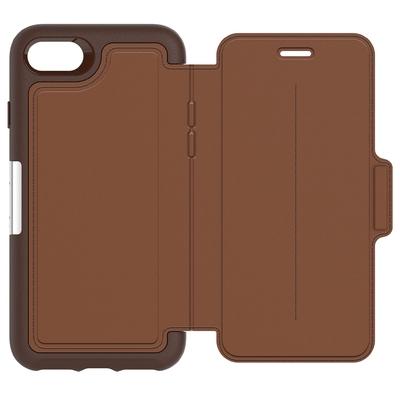 Etui Cuir veritable Coque Silicone iPHONE 8+ et iPHONE 7 Plus 5.5 pouces Folio Strada Marron